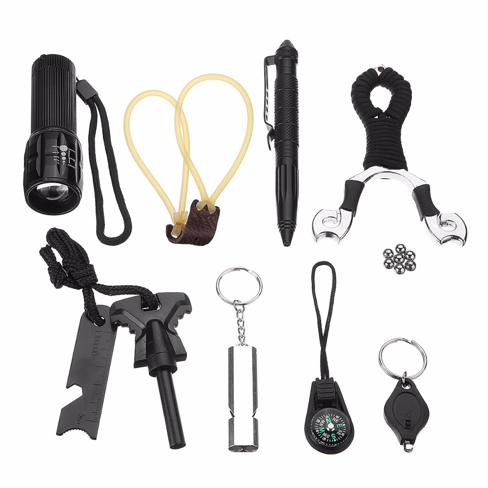 Multifunctional Outdoor Camping Hiking 7 In 1 EDC Survival Tools Case Emergency Kits ...