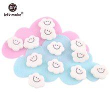 Yapalım bebek diş kaşıyıcı 5 adet gülen bulut şekli Perle silikon boncuk gıda sınıfı malzemeler DIY el sanatları duş hediye bebek ürünleri