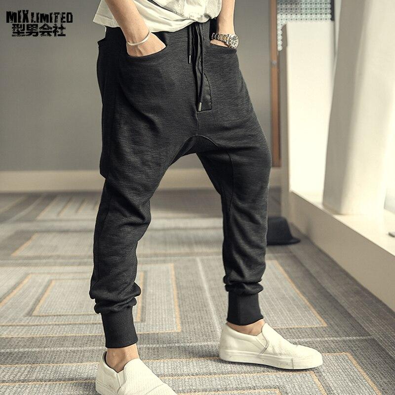 Analytical Men New Cotton Casual Design Autumn Winter British Style Pants Men Black Haren Cotton Hip Hop Brand Solid Fashion Trousers