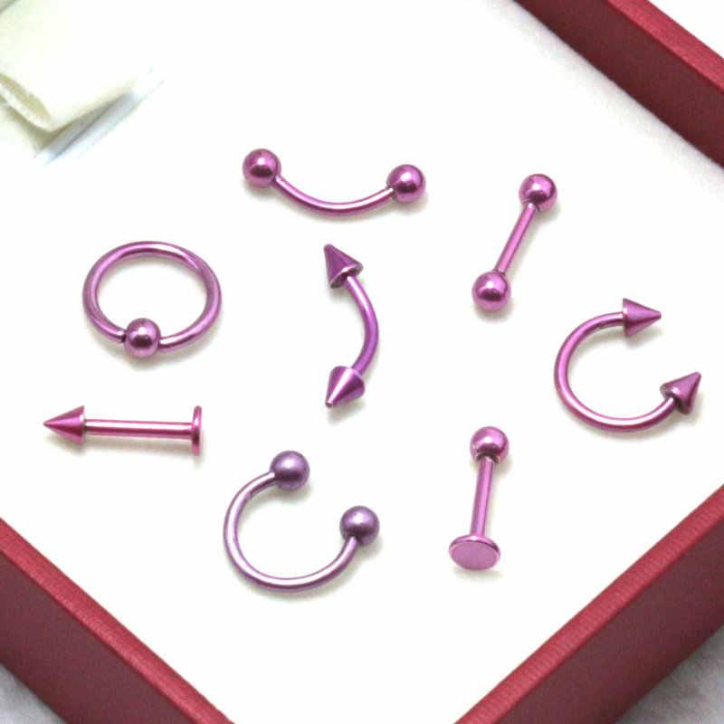 8 יחידות ורוד נירוסטה מעוקל ברבל labret כדור גבות טבעת חרוזים בשבי bcr חוזר טבעת לשון פירסינג תכשיטי גוף