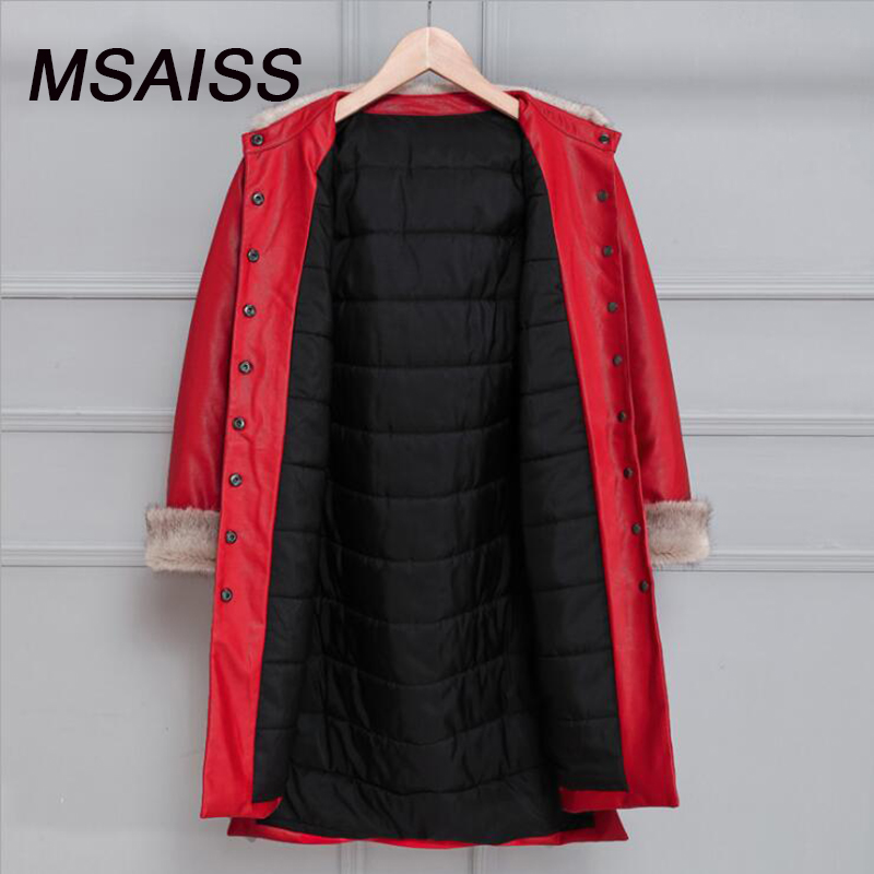 MSAISS 2017 Mink Winter Faux Sheepskin   Leather   Coat Women Slim Long Sleeve Jacket Fur Collar Coats