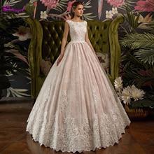 Fsuzwel, vestidos de novia románticos con cuello redondo y apliques de encaje de línea A, Vestido de novia de princesa con manga casquillo a la moda de 2019, Vestido de novia