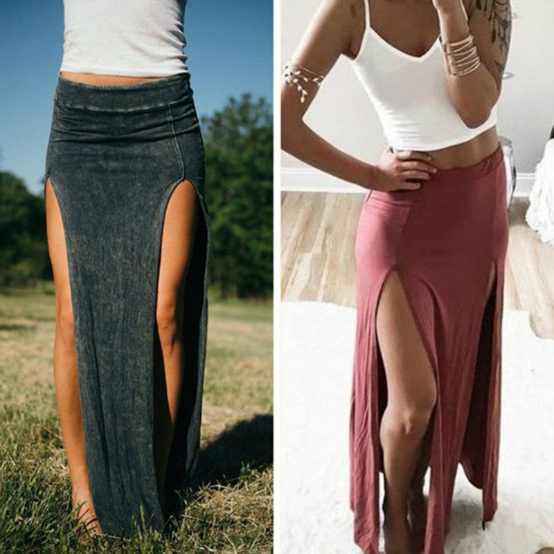 2020 Summer Autumn Women Long Skirts Ankle Length Sexy High Split Skirt Female Long Straight Skirt Saias Women's Skirt