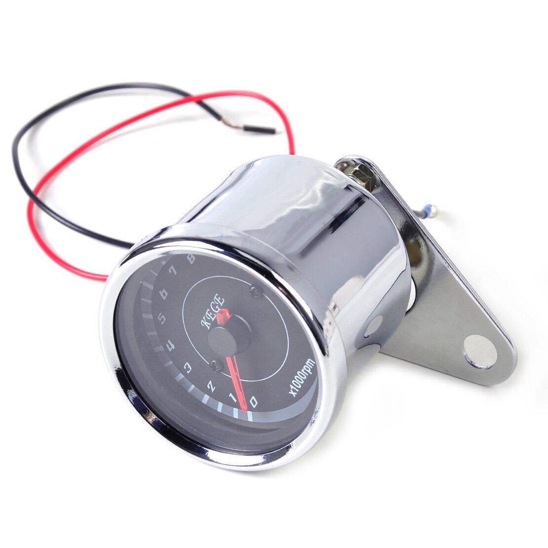 1:4 Chrome /& Black Mini Mechanical Motorcycle Tachometer Tach 12K RPM