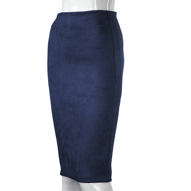 SheBlingBling Empire Skirts Spring Faux Suede Pencil High Waist Bodycon Split Thick Stretchy Sexy Skirts Knee