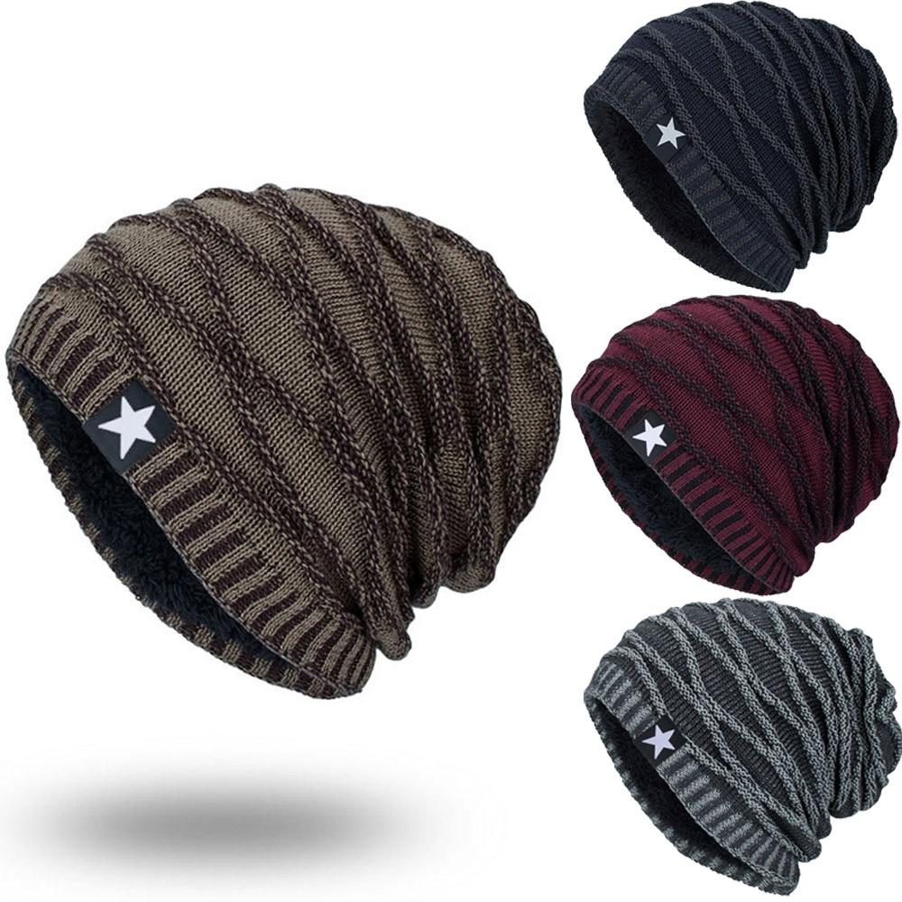 Unisex Knitted Warm Cap For Men Star Hedging Head Hat   Beanie   Cap Warm Winter Outdoor Hat Bone bonnet homme hiver 2019 NEW