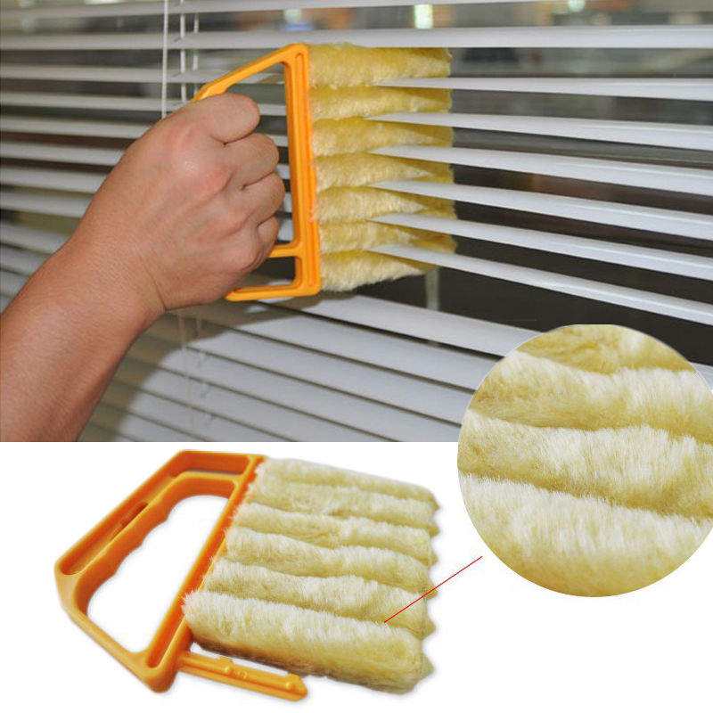 New Arrival Vertical Window Blind Brush Cleaner Mini 7 Shape Hand Held Window Brush Pinceis For