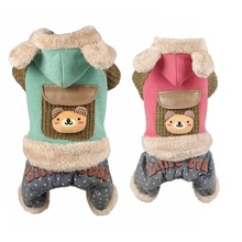 Dog Jumpsuit Pet-Overalls Coat Pet-Outfit Fleece Small Winter Warm Petalk Hoodie Inside