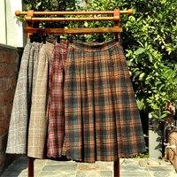 New Arrival Japan School Uniform Skirt Plaid Lolita Midi Classic Woolen Pleated Skirt Autumn Winter Women 3 Colors Casual Skirts