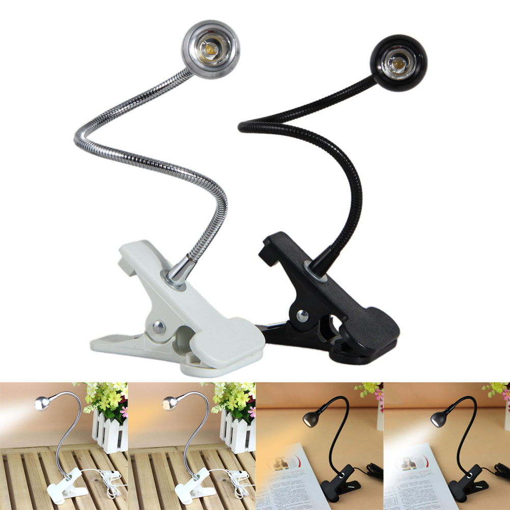 USB Rechargable Flexible Eye-care Adjustable Reading LED Light Clip-on Clamp Beside Table Desk Lamp Laptop Book Studying Light