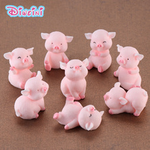 1pc Artificial Pig Model Animal action Figures Miniature Figurine Fairy home Garden Wedding Doll Decoration Accessory toy gift
