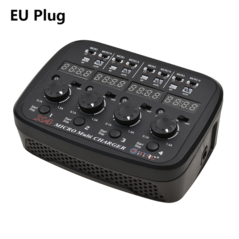 New HTRC X4 Multi Charger AC/DC dual power input for 1S Lipo Lihv Battery EU Plug LED and audible sound indicate charging statusNew HTRC X4 Multi Charger AC/DC dual power input for 1S Lipo Lihv Battery EU Plug LED and audible sound indicate charging status