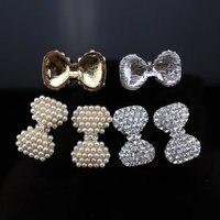 5 Designs Metal Pearl Rhinestone Button Flatback For Hair Flower Wedding Pearl Embellishment Free Shipping