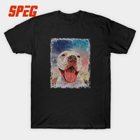 T Shirt Pitbull Dogs Homme Crewneck Short Sleeved Clothing Newest Teenage Crazy T Shirts Oil Painting