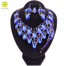 Statement India style Necklace Earrings Sets Bridal Wedding Party Water Drop Type Gold Color Crystal Jewelry Sets(China)