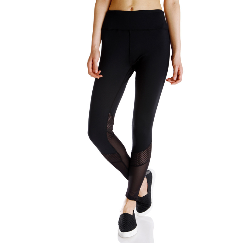 female fitness pants stitching Womens Black Wide Waistband Mesh Insert Stirrup compression pants women legging sport jogging