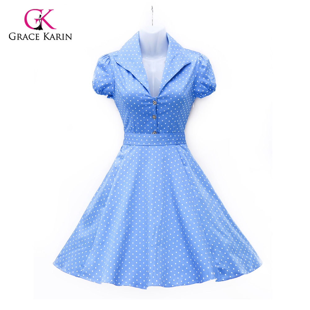 2016 womens summer style clothes cotton polka dots 40s 60s - Estilo anos 60 ...