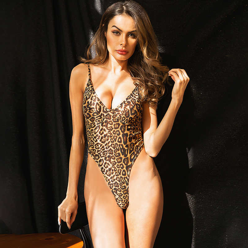 Leopard dünne frauen body tanga backless catsuit körper gestaltung design body ärmel animal print