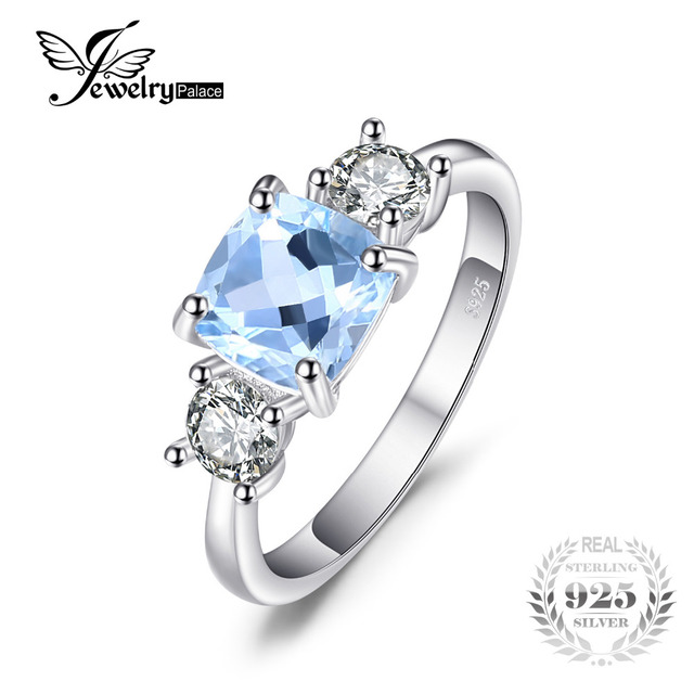 JewelryPalace Classic 2.58ct Square Natural Sky Blue Topaz CZ Wedding Ring For W