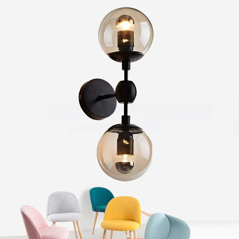 Nordic Postmodern Style Glass Ball Wall Lamps Creative Single Double E27 Wall Light for Living Room Bedroom Bedside RestaurantNordic Postmodern Style Glass Ball Wall Lamps Creative Single Double E27 Wall Light for Living Room Bedroom Bedside Restaurant