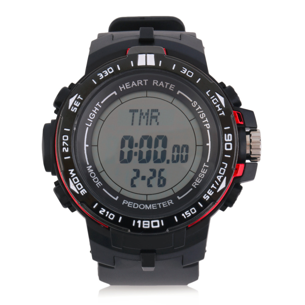 Shop2953105 Store Popular Men 3D Pedometer Heart Rate Monitor Calories Counter Fitness Tracker Digital Display Watch Outdoor Sports Watches