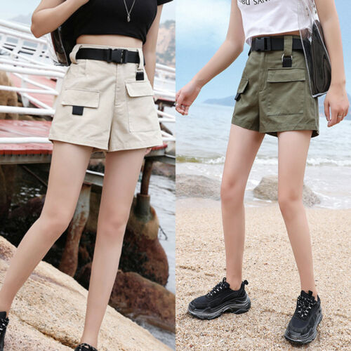 Women Solid Overalls Shorts Breathable Cargo High Waist Safari Pocket Shorts Loose Schoolgirl Trouser Beach Sweet Summer Trouser