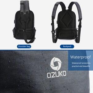 Image 3 - OZUKO תכליתי חבילת חזה גברים אופנה כתף Crossbody תיק זכר מים עמיד שקיות חזה USB טעינת נסיעות קלע תיק