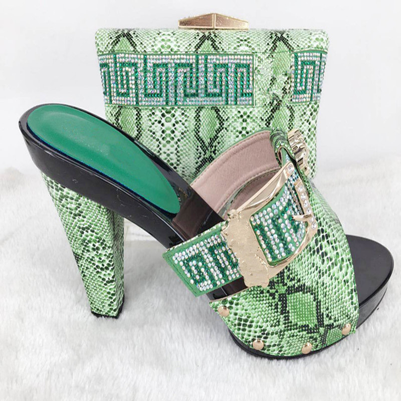 ФОТО Matching shoes and bags italy with diamonds heel height 9cm african shoe and bag set new design italian shoe bag PPI26