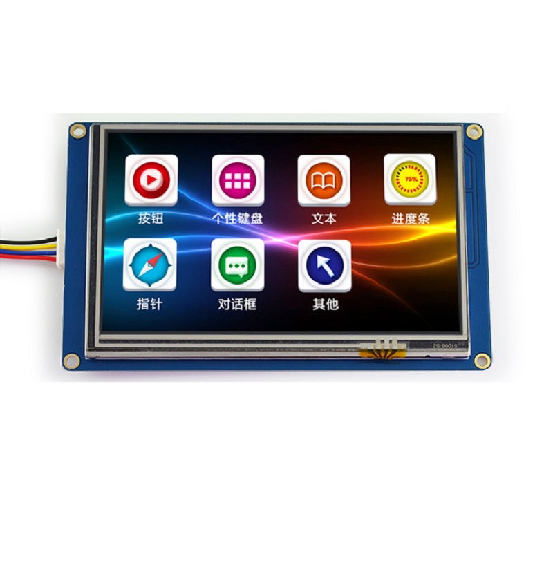 лучшая цена 5-inch USART HMI serial screen configuration screen with font picture TFT LCD display module 800 * 480