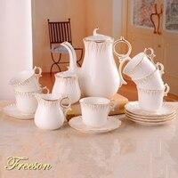 Европейский Золотой инкрустация костяного фарфора кофейный набор фарфоровый чайный набор керамический горшок сливочник сахарница чайный ...