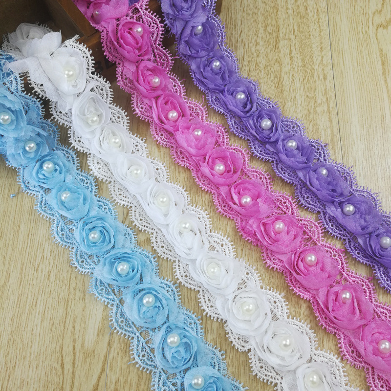1 Yd Heart Love 3D Beaded Flower Pearl Chiffon Lace Trim Ribbons Sewing Craft