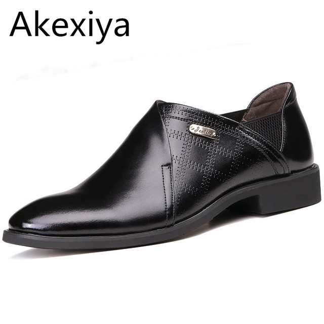 Akexiya Size 38 44 Leather Men Dress Shoes Vintage Office For Man