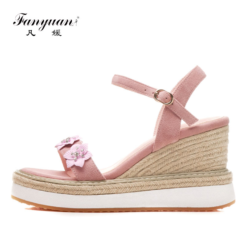 Fanyuan Summer High Heels Women Sandal Elegant Flower Platform Shoes Woman Wedges Sandals Concise Fisherman Shoes zapatos mujer 2018 rome shoes women sandals gladiator shoes woman wedges heel ladies sandals platform sandal mujer