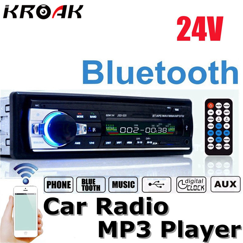 24V Car Radio Bluetooth Auto Car Audio Stereo Player Support Phone AUX IN MP3 FM USB