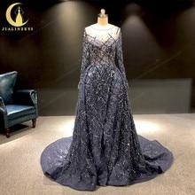 JIALINZEYI Image réelle luxueux bleu marine manches longues perles Sexy robe de soirée robes formelles robe de soirée 2019