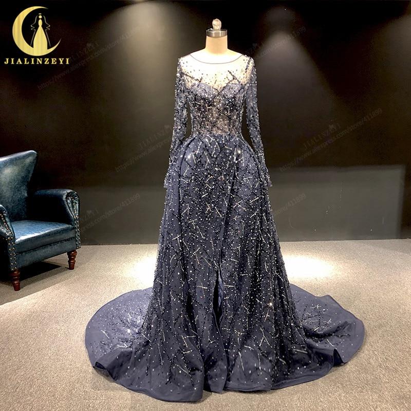 JIALINZEYI Real Image Luxurious Navy Blue Long Sleeves Beads Sexy Robe De Soiree Formal Dresses Evening Dress 2019