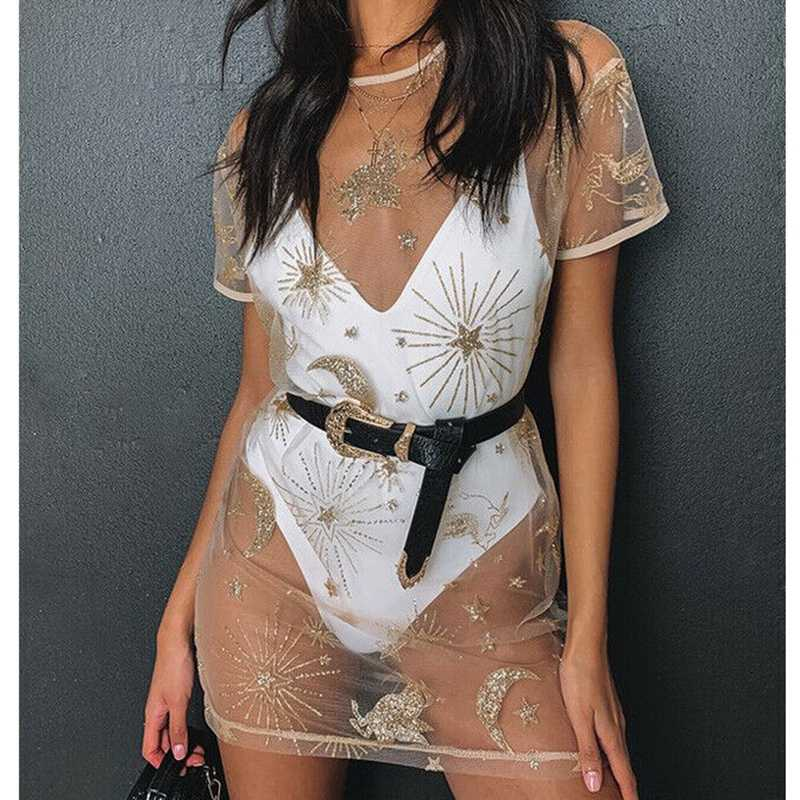 Vrouwen Zomer Strand Jurk losse Star moon print pailletten Bikini Cover Up sexy mesh See-through korte mouw mini jurk vestido
