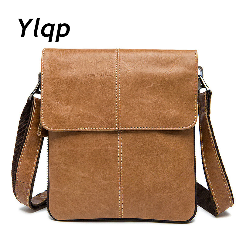 Ylqp Men's Bags Genuine Leather Male Crossbody Bags Man's Shoulder Bag Strap Small Casual Flap Men Leather Messenger Hasp Bag 2017 summer metal ring women s messenger bags solid scrub leather women shoulder bag small flap bag casual girl crossbody bags