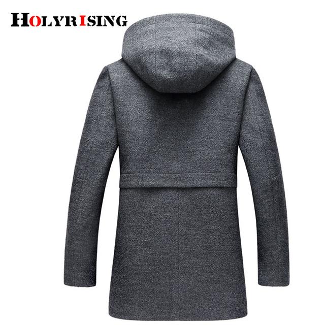 Winter Wool Coat Men Fashion Wool Jacket Men High Quality Hooded Mens Peacoat Size M-3XL size #18172 holyrising