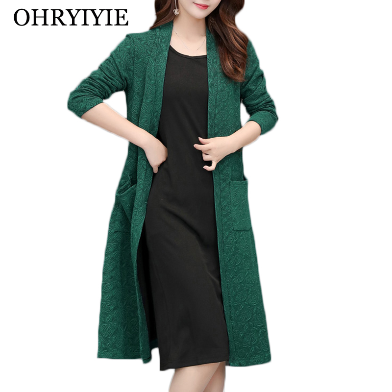 OHRYIYIE Plus Size 5XL Women Cardigan Sweater 2020 Spring Autumn Floral Printed Knitted Sweater Laides Green Large Coat XL-5XL