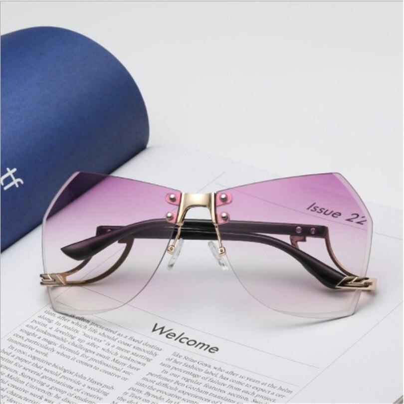 2018 Women's Running Flight Frameless Ocean Sunglasses Europe and America Trendy Glasses Sunglasses 5