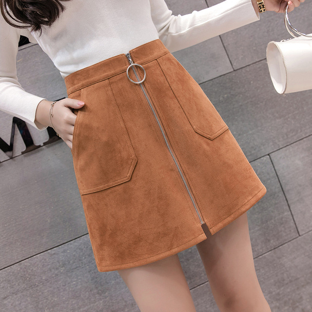 Black Elegant Office Lady Solid Color Front Zipper Mid High Waist Skirts Spring Winter Women Suede Leater Package Hip Skirt 4