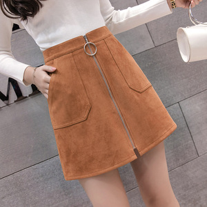 Image 4 - Black Elegant Office Lady Solid Color Front Zipper Mid High Waist Skirts Spring Winter Women Suede Leater Package Hip Skirt