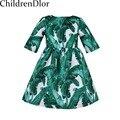 Vestidos de Niña de niño 2017 Otoño Dobby Vestidos de Los Cabritos para Las Muchachas Ropa Vestido de Princesa Verde con Tropical Impreso