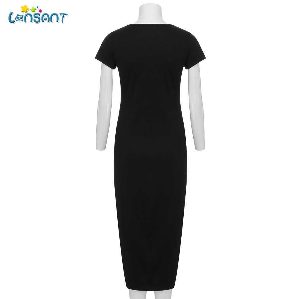 8413860bb506c ... LONSANT New Casual Summer Maternity Split The Fork Design Dress Solid  Short-sleeve Mother Maternity