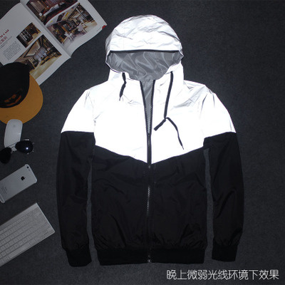 2018 New Men and Women Couple Jacket Autumn Patchwork 3M Reflective jacket Hip Hop Waterproof Windbreaker Men Coat Trend Brand