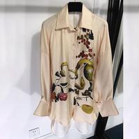 Винтажная Женская офисная блузка Рубашки женские s повседневные женские шелковые блузки с принтом Европейская Длинная блузка женская блуз