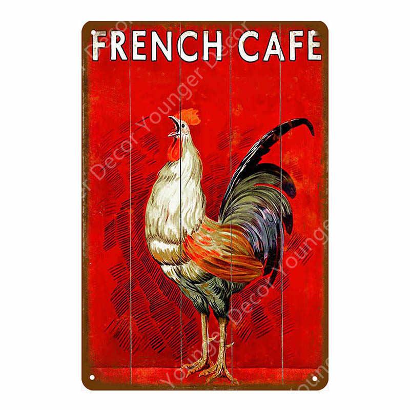 البيض الطازج الحليب المعادن تسجيل مزرعة متجر الفرنسية مقهى ديكور جدران المنزل خمر المشارك القصدير لوحة سعيد الدجاج ريترو اللوحة