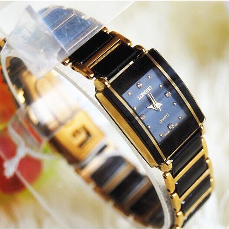 Famous Longbo Brand Luxury Pure White Ceramic Between Rose Silver Bracelet Quartz Wrist Watch Christmas Gift Ladies Dress Watch