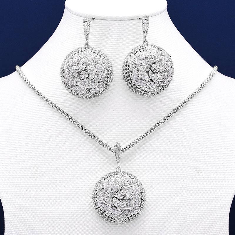 Mootree Elegant Flower Wheel Full Micro Paved Full Cubic Zircon Copper Women Wedding Engagement Earring Necklace
